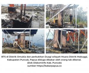 BTS mendapat serangan KKB di Kabupaten Puncak, Papua