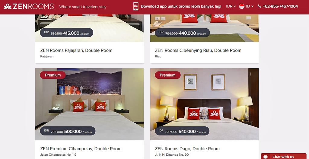 Pilihan hotel dengan diskon yang lumayan bisa menghemat. Sumber www.zenrooms/com